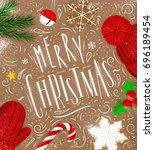 christmas poster lettering... | Shutterstock .eps vector #696189454