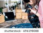 online seller owner take a... | Shutterstock . vector #696198088