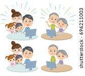 family three generations... | Shutterstock .eps vector #696211003