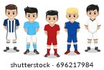 5 vector character football  ... | Shutterstock .eps vector #696217984