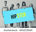 hipster freedom youth teenager... | Shutterstock . vector #696225064