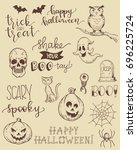 cute hand drawn doodles and... | Shutterstock .eps vector #696225724