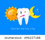 tooth character with sun and... | Shutterstock .eps vector #696227188