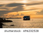 beautiful  boats in the sea on... | Shutterstock . vector #696232528