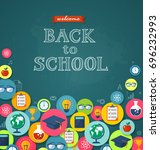 back to school flat style... | Shutterstock .eps vector #696232993