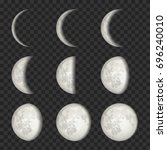 vector lunar phase icon set.... | Shutterstock .eps vector #696240010