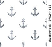vintage anchor hand drawn... | Shutterstock .eps vector #696244618