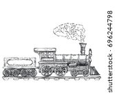 vintage steam locomotive vector ... | Shutterstock .eps vector #696244798