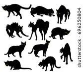 halloween set of cats. vector...