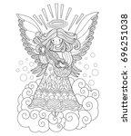 angel playing guitar. zentangle ... | Shutterstock .eps vector #696251038