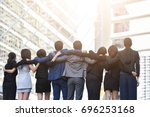 rear view of happiness group... | Shutterstock . vector #696253168