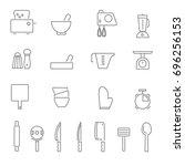 kitchenware and utensils...   Shutterstock .eps vector #696256153