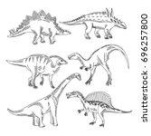 stegosaurus  triceratops... | Shutterstock .eps vector #696257800