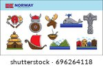 norway travel landmark symbols... | Shutterstock .eps vector #696264118
