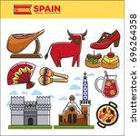 spain travel famous landmark... | Shutterstock .eps vector #696264358