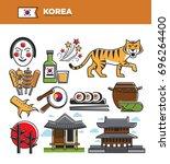 korea travel famous landmarks... | Shutterstock .eps vector #696264400