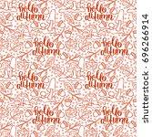 hello  autumn. mushrooms ... | Shutterstock .eps vector #696266914
