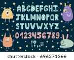 hand drawn alphabet with cute...   Shutterstock .eps vector #696271366