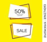 modern paper cut geometric sale ... | Shutterstock .eps vector #696274093