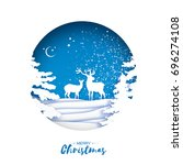 merry christmas greeting card... | Shutterstock .eps vector #696274108