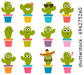 set of cute cactuses | Shutterstock .eps vector #696275260