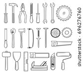 set of icon tools line style... | Shutterstock . vector #696276760