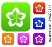 frangipani flower set icon in... | Shutterstock .eps vector #696277849