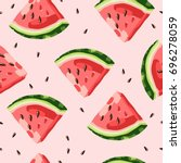 watermelon pattern vector   Shutterstock .eps vector #696278059