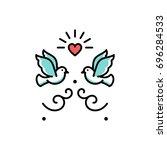 wedding doves love birds icons. ... | Shutterstock .eps vector #696284533