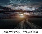 countryroad night bright...   Shutterstock . vector #696285100