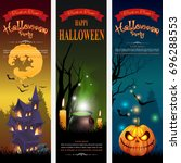 halloween  banner set design ... | Shutterstock .eps vector #696288553