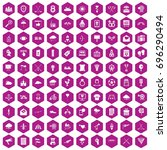 100 arrow icons set in violet...   Shutterstock .eps vector #696290494