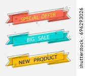 set geometric vector ribbons in ... | Shutterstock .eps vector #696293026