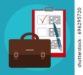 business bag and papers. job... | Shutterstock .eps vector #696295720