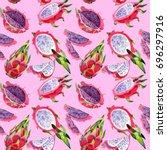 exotic pitaya healthy food...   Shutterstock . vector #696297916