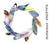 watercolor bird feather wreath... | Shutterstock . vector #696297976
