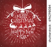 merry christmas greeting card... | Shutterstock . vector #696298084