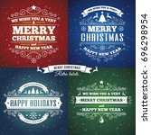 merry christmas card set with... | Shutterstock . vector #696298954