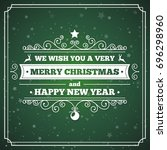 merry christmas greeting card... | Shutterstock . vector #696298960