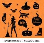 halloween icons set. vector... | Shutterstock .eps vector #696299488