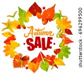 vector frame with fall leaves ... | Shutterstock .eps vector #696299500