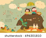 happy kids with bear and fox in ... | Shutterstock .eps vector #696301810