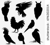 vector collection of black bird ... | Shutterstock .eps vector #696302014