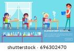 elementary school vector poster ... | Shutterstock .eps vector #696302470