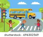 smiling boys standing on... | Shutterstock .eps vector #696302569