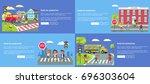 rules for pedestrians... | Shutterstock .eps vector #696303604