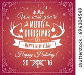 merry christmas red card | Shutterstock . vector #696304549