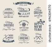 christmas set   labels elements | Shutterstock . vector #696304570