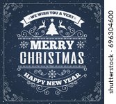 merry christmas card with retro ... | Shutterstock . vector #696304600