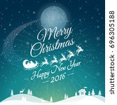 greeting merry christmas card... | Shutterstock . vector #696305188